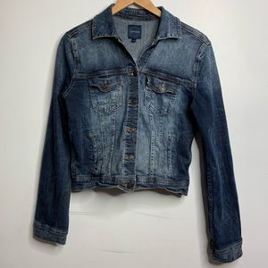 JUST USA jean jacket cropped distressed large